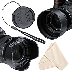 Lens Hood Set, Reversible Tulip Flower + 3 Stages Collapsible Rubber Lens Hood + Center Pinch Lens Cap with Cap Keeper Leash + Microfiber Cleaning Cloth (58MM)