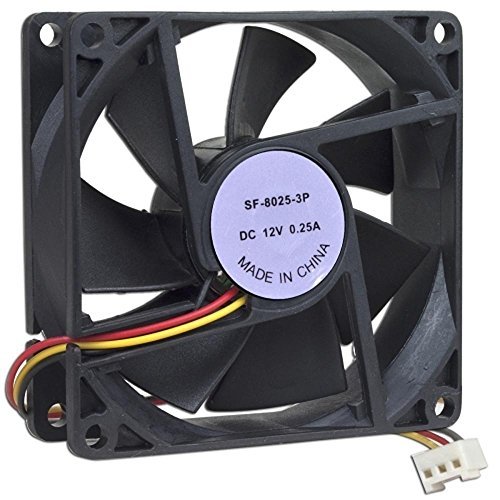 Generic 80mm 3 x 3 Inches Case Fan with 3-Pin Connector, Black (SF-8025-3P) (3 Computer Case Inch Fan)