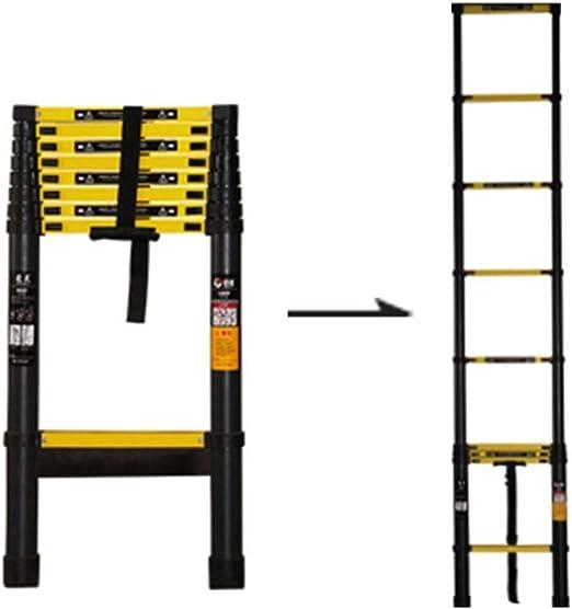 Escalera de extensión negra con peldaño ancho adicional, Escaleras telescópicas compactas profesionales altas de aluminio para el hogar de los techos de oficinas, carga 200 kg (tamaño: 3.9 m): Amazon.es: Hogar
