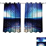 Qinqin-Home Waterproof Window Curtain Arena Court with Fans and Flashlights Competition Theme Game Excitement Print Navy Black Blackout Draperies for Bedroom (W63 x L72 -Inch 2 Panels)