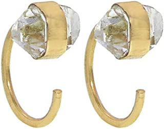 product image for MELISSA JOY MANNING - Herkimer Wrap Huggie Earrings in 14K Yellow Gold