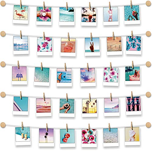 BIZYAC Photo Display Family Wall - Easy Install Self Adhesive 3M Hanging Display String with Clips - No Wall Holes Drilling - Size 30 x 30 inch - 10 Wooden Button Holders for $<!--$12.99-->
