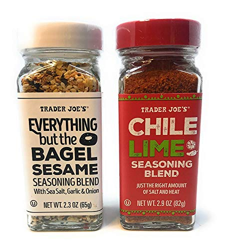 Trader Joe's Seasonings Bundle - Everything But The Bagel Sesame and Chile Lime Seasoning Blends (1 of each)