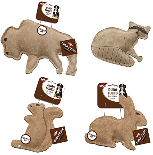 Ethical Pet Dura-Fused Buffalo, Raccoon, Squirrel, and Rabbit Leather Dog Toys (Bundle)
