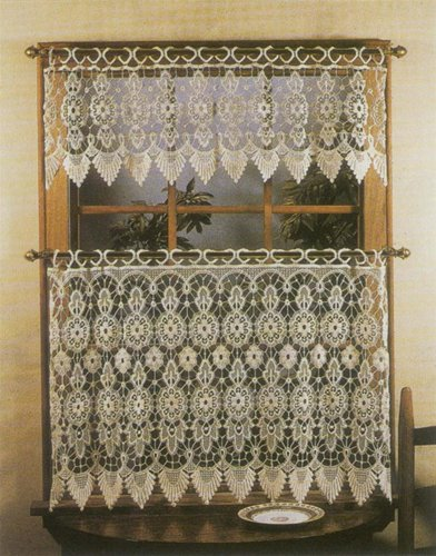 "Medallion Tier Curtain 35""x24"", Ecru"