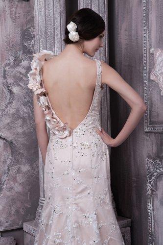 Brautkleider GEORGE Spitze Weiß Brautkleid ueber Rueckenfrei Prinzessin BRIDE Satin Vierkantansatz Hochzeitskleider T6nqUw8T