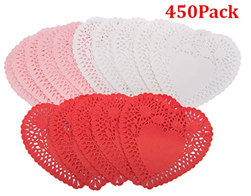 450pcs Mini Valentine Heart Doilies Lace Paper - Red Pink White - Valentine's Day Wedding Party Decoration Ornaments, - Doily Red