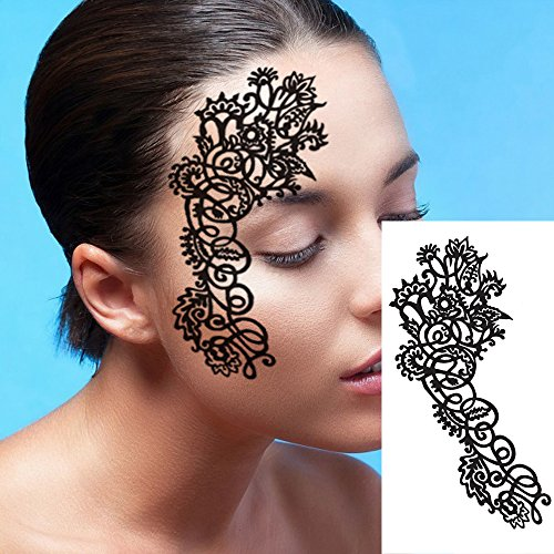 Leoars Black Hollow Lace Face Mask Creative Big Paper Cutting Eco-friendly Carbon Fiber Face Eye Mask Artistic Make up for Club Party Temporary Tattoo Sticker (1 -
