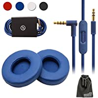 EEEKit Replacement Kit for Beats Solo 2 Wired On-Ear Headphone,Replacement Earpads Cushions Cap Memory Foam Cover + Aux Audio Cable with Mic (Blue)