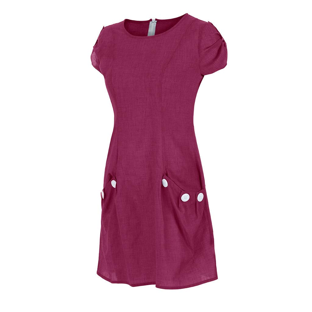 DEELIN Womens Dresses Summer Beach Linen Soft Ruffled Short Sleeve Elegant Party Mini Dress with Pockets Button Round Collar Solid Color Casual Dress