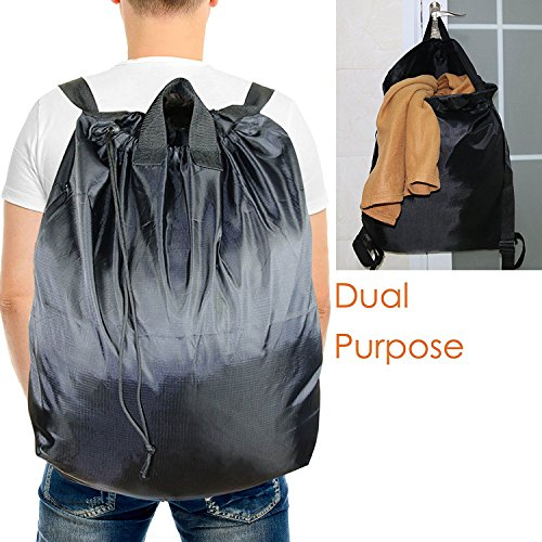 "Laundry Bag Backpack (Laundry Bag Backpack for College and Camp with Carry Handles and Adjustable Shoulder Straps, Extra Large Heavy Duty Nylon Dirty Laundry Hamper with Drawstring for Dorm and Laundromat 24"" x 30"")"