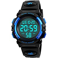 Boys Girl Digital Multifunction 50M Waterproof Alarm Stopwatch Calendar EL Backlight 12H/24H Sports Watch (Blue)