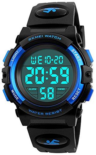 Price comparison product image Boys Girl Digital Multifunction 50M Waterproof Alarm Stopwatch Calendar EL Backlight 12H/24H Sports Watch (Blue)