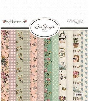 Pack 18 papeles de Scrapbooking de la colección Hola Primavera diseñada por Roser Prats.: Amazon.es: Oficina y papelería