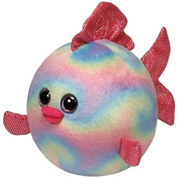 Ty 7138119 Rainbow Beanie Ballz - Pez globo de peluche de colores (12 cm de