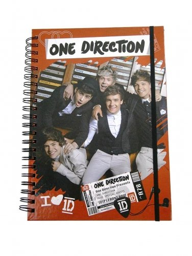 One Direction A4 Deluxe Spiral Notebook Stationery (Notebook Paper Duvet)