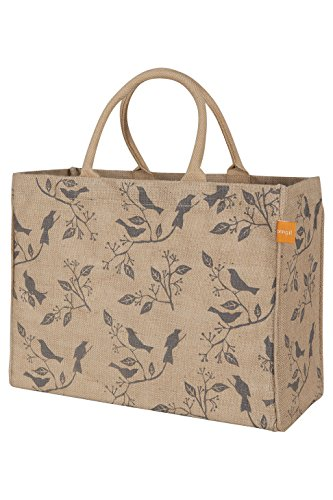 KAF Home Jute Market Tote Bag with Birds Print, Durable Handle, Reinforced Bottom and Interior Zipper Pocket, Generous capacity, 12.5