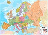 Extra Large Europe Wall Map (political) - Laminated with hanging bars