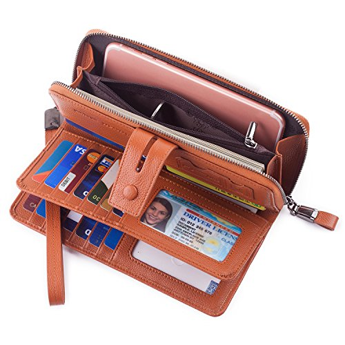 Women RFID Wristlet Wallet Large Capacity Leather Clutch Multi Card Organizer Brown
