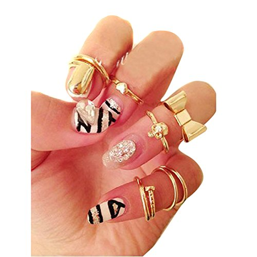 Sealike 7 Pcs Fashion Europen Punk Style Heart Cute Bowknot Skull Plain Above Knuckle Rings Band Mid Finger Rings Midi Rings Joint Rings Set with a Stylus