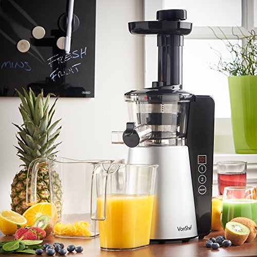 Vonshef Digital Slow Masticating Juicer Fruit Vegetable Cold Press Extractor : vonShef Digital Slow Masticating Juicer Machine with 2 ...