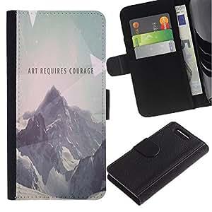 YiPhone /// Tirón de la caja Cartera de cuero con ranuras para tarjetas - Arte Requiere Coraje - Sony Xperia Z3 Compact