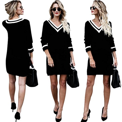 Womens V-Neck Loose Sweater Knitted Long Sleeve Pullover Tops Ladies Sweatshirt (M, Black) - Knitted Tunic Dress