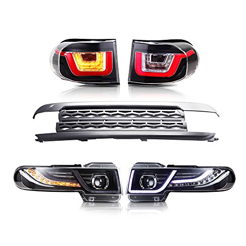 (MOSTPLUS LED Halo Projector Headlights & Grille & Tail Light For 2007-2014 Toyota FJ Cruiser(Led H7 Bulb)