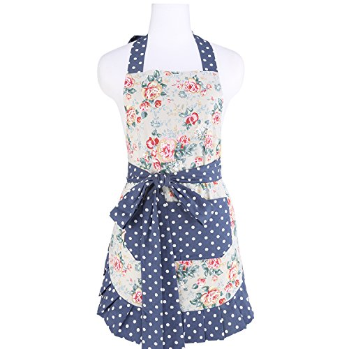 Neoviva Flirty Kitchen Apron with Big Pocket, Lining Applied, Style Kathy, Floral Quarry Bloom
