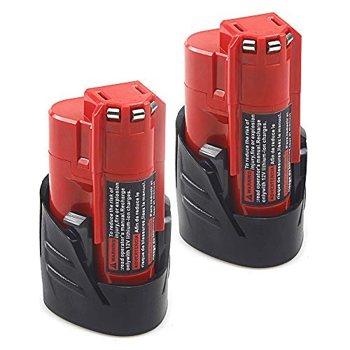 2 Pack Waitley M12 12V 2.5Ah Replacement Battery Compatible with Milwaukee M12 48-11-2401 RED Li-Ion Battery 48-11-2420 48-11-2411 48-11-2440 48-11-2402 Tools (Milwaukee Tools M12 Battery)