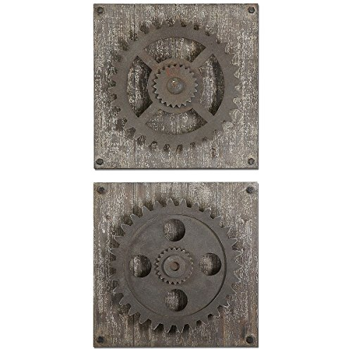 Uttermost 13828 Rustic Gears Wall Art (Set of 2), Ivory ()
