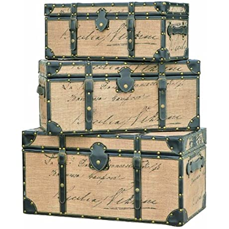 Crestview Collections French Script Trunks Wood With Antiqued Linen Fabric Finish Set Of 3