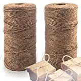 Natural Jute Twine 2 Pack - Best Crafting String for Craft Projects, Gift Wrapping, Packing, Gardening and More – 200m High Quality 3ply Jute to Use Around The House and Garden.