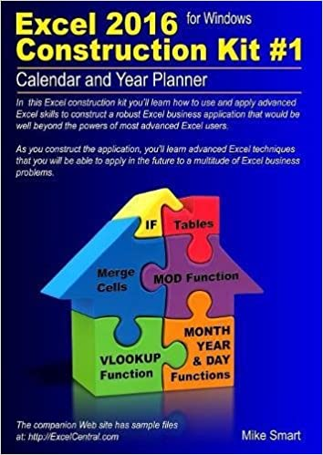 excel 2016 construction kit 1 calendar and year planner amazon co