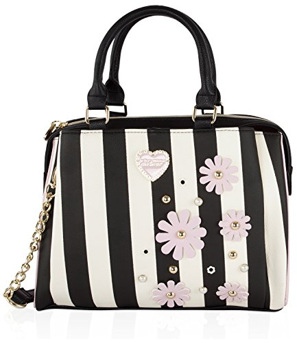 Betsey Johnson Multi Compartment Dome Satchel Bag - Stripe Bb17270