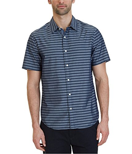 Nautica Men's Short Sleeve Classic Fit Striped Button Down Shirt, Maritime Navy, Large
