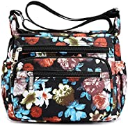 TOTZY Nylon Women Crossbody Bag Organize Travel Shoulder Purse with Lots of Pockets-Flower