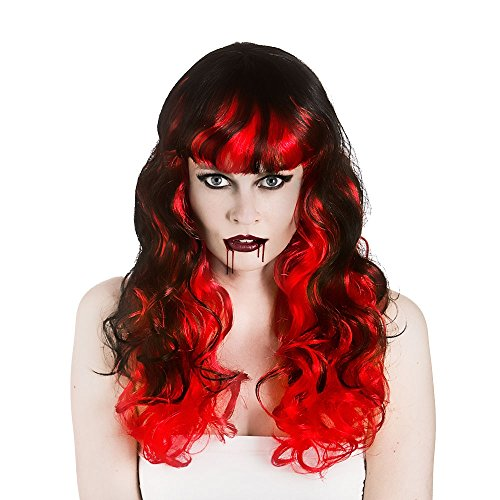 Ladies Halloween Vampiress Black & Red Wig with Fringe Fancy Dress Accessory -