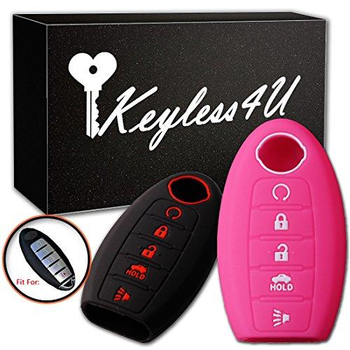 2Pcs Keyless4U 5 Buttons Key Fob Silicone Remote Cover Case Keyless Jacket Holder Protector for Nissan Altima Maxima Armada Murano Rogue Sedan Pathfinder(Black Rose)