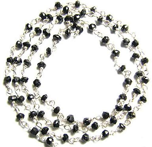 Design Ideas - Black Spinel Rosary Chain 1 1/2' Sterling Silver Wire Strand 3.5mm Semiprecious Faceted Gemstone Bead Jewelry Craft Supply - Unique Selection Beads