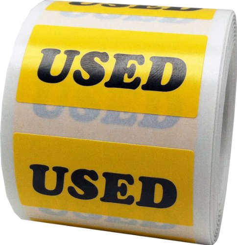 Yellow Used Labels For Retail Pawn Thrift Shops 3/4 x 1 1/2 Inch 500 Adhesive Stickers