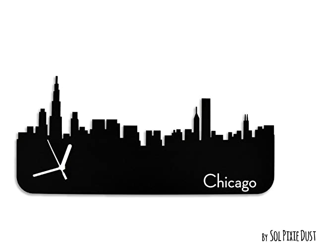 amazon com chicago skyline silhouette wall clock handmade