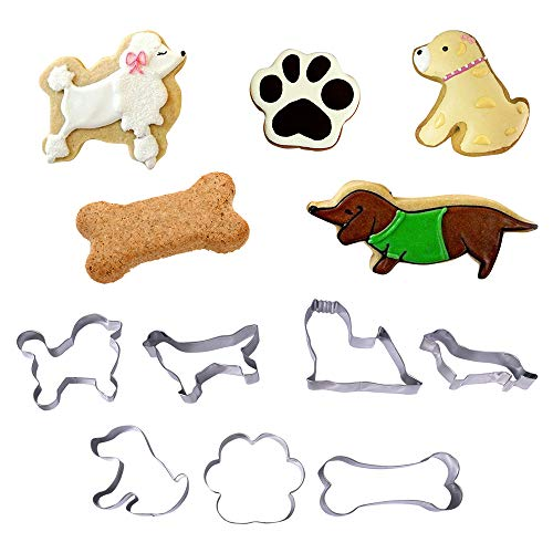 - 8 Pcs Dog Shaped Cookie Cutter Set, Incl Yorkshire Terrier, Dachshund, Retriever, Poodle, Sheepdog, Pup Dog,Paw Print and Dog Bone