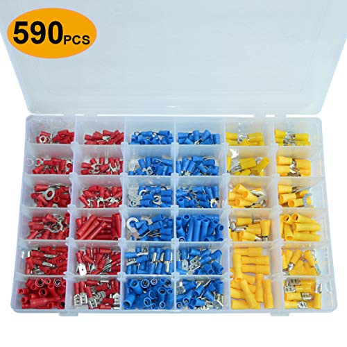 (590pcs Horloy Wire Crimp Connectors, Electrical Insulated Wiring Terminals Kit 22-10 AWG Wire Crimp Electrical Connectors Butt Bullet Spade Fork Ring Assortment)