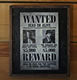 Vintage Butch Cassidy and the Sundance Kid Wanted Poster in a framed sign