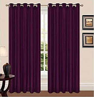 "90/"" x 108/"" Drop Long Pencil Pleat Jacquard Curtains Fully Lined Purple Aubergine"