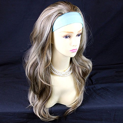 Blonde Brown 3/4 Fall Hair Piece Long Straight Layered wavy Half Wig - Hairpiece Fall