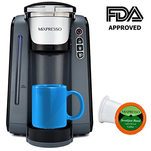 Single Cup Coffee Maker – K Cup Compatible – by Mixpresso (Dark Grey)