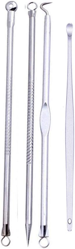 dtyuphn 4pcs Stainless Facial Acne Spot Pimple Remover Extractor Tool Comedone