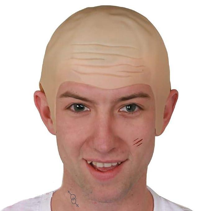 Thick Bald Yellow Skin Head Skull Fancy Dressing Wig Cap Cosplay Hat